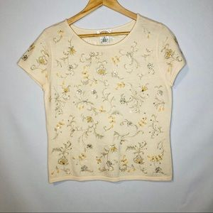 Talbots Beaded Sweater Shirt Womens Size Medium